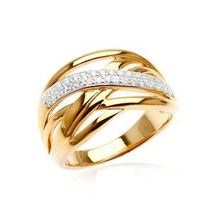 แหวน คิวบิกเซอร์โคเนีย (Cubic Zirconia) ตัวเรือนเงินแท้ 925 ชุบทองคำแท้ เสริมบุคลิกเพิ่มความมั่นใจ