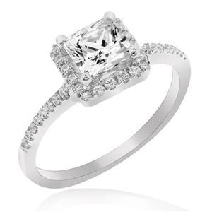 แหวนเพชร DiamondLike รูปทรงสี่เหลี่ยมดูเก๋ไก๋ ไม่เหมือนใคร บนตัวเรือนเงินแท้ชุบทองคำขาว