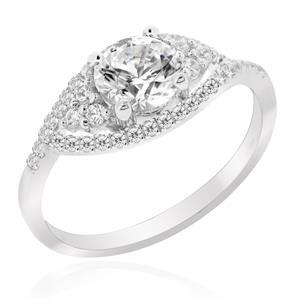 แหวนเพชร DiamondLike ดีไซน์รูปดวงตาสุดเสน่หา บนตัวเรือนเงินแท้ชุบทองคำขาว
