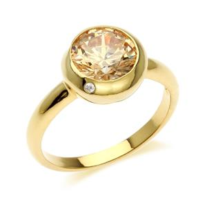 แหวนเงินแท้ 925 ประดับด้วย SWAROVSKI  ZIRCONIA สีเหลืองหวาน  ดีไซน์สุดเก๋รสนิยมทันสมัย บนตัวเรือนเงินแท้ชุบทองคำแท้ เพิ่มเสน่ห์ดึงดูดบนเรียวนิ้วของคุณ