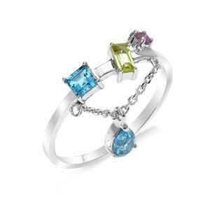 แหวนเงินแท้ ดีไซน์เก๋ไก๋ ประดับพลอยอเมทิสต์ (Amethyst) บลูโทแพซ (Blue Topaz) เพอริดอท (Peridot) แหวนสวยไม่ซ้ำใคร หรูหรา เหมาะกับสาวๆ