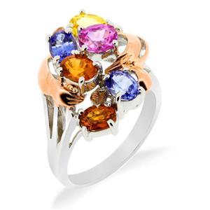 แหวนพลอย 4 สี พิงค์แซฟไฟส์(Pink Sapphire) บุษราคัม(Yellow Sapphire) บูลโทพาส(Blue Topaz) เฮสโซไนต์ (Hessonite) บนตัวเรือนเงินแท้ชุบทองคำขาว