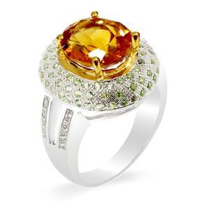 แหวนพลอยซิทริน(Critine) รูปทรงเป็นเอกลักษณ์ โดดเด่น สุดหรูหรา บนตัวเรือนเงินแท้ชุบทองคำขาว
