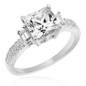 แหวนประดับเพชร DiamondLike ดีไซน์หรูหราคลาสสิค ตัวเรือนเงินแท้ชุบทองคำขาว