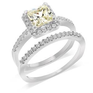 แหวนคู่ ประดับเพชร DiamondLike สุดคลาสสิค บนตัวเรือนเงินแท้ชุบทองคำขาว