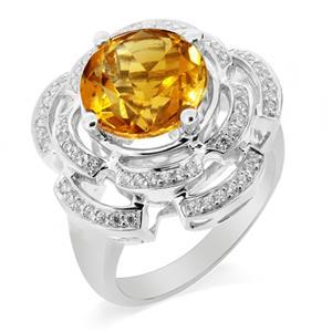 แหวนพลอยซิทริน(Citrine) ดีไซน์เก๋รูปดอกไม้ บนตัวเรืองเงินแท้ชุบทองคำขาว