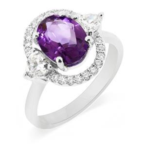 แหวนอเมทิสต์(Amethyst) อมตะด้วยเพชรDiamondLikeล้อมที่สวยทุกกาลสมัย ตัวเรือนเงินแท้ชุบทองคำขาว