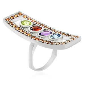 แหวนพลอย 5 สี รูปทรงแปลกตา รับรองว่าโดดเด่นโดนใจ บนตัวเรือนเงินแท้ชุบทองคำขาว