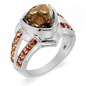 Women's Rhodium Plated 925 Sterling Silver Ring with Fancy Cut Smoky Quartz and Orange Sapphire