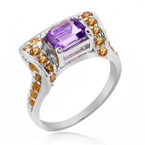 แหวนพลอยทูโทน อเมทิสต์(Amethyst) และแซฟไฟส์สีส้ม(Orange Sapphire) บนตัวเรือนเงินแท้ชุบทองคำขาว
