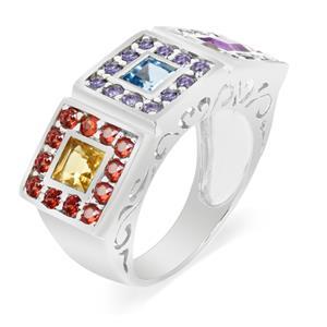 แหวนประดับพลอยหลากสี ตัวเรือนเงินแท้ชุบทองคำขาว