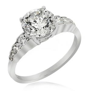 แหวนดีไซน์เรียบหรู หัวแหวนประดับเพชร DiamondLike ตัวเรือนเงินแท้ชุบทองคำขาว