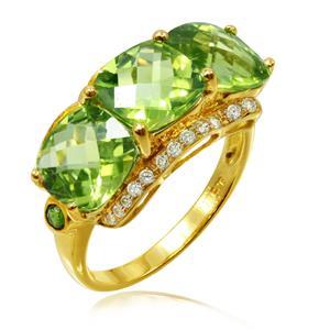แหวนเพอริดอท ประดับเพชร DiamondLike และ Chrome Diopside สีเขียว ตัวเรือนเงินแท้ชุบทอง