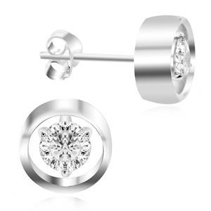 ต่างหูเพชร DiamondLike  สองดีไซน์ในหนึ่งเดียว บนตัวเรือนอัลลอยด์อิตาลี่ชุบทองคำขาว