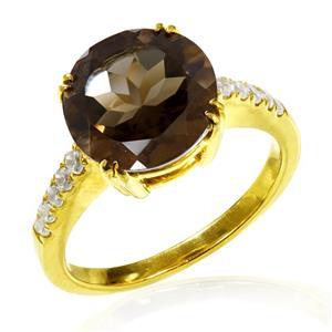 แหวนสโม้กกี้ควอตซ์ ขนาด 10มิล ประดับคิวบิคเซอร์โคเนียด้านข้าง ตัวเรือนเงินแท้ ชุบทอง 18K เหมาะมากสำหรับงานค็อกเทลปาร์ตี้