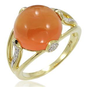 แหวนพลอยคาร์เนเลี่ยน(Carnalian)  รูปทรงกลมมน สวยเด่นมีดีไซน์ บนตัวเรือนเงินแท้ชุบทองคำ