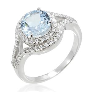 แหวนบลูโทแพซ(Blue Topaz) ล้อมด้วย คิวบิกเซอร์โคเนีย (Cubic Zirconia) ตัวเรือนเงินแท้ 925 ชุบทองขาว