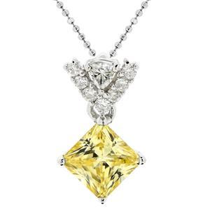 จี้เพชร DiamondLike สีเหลือง รูปทรงสี่เหลี่ยมน่ารัก สวยเด่นเมื่อสวมใส่ หรือมอบให้กับคนพิเศษ บนตัวเรือนเงินแท้ชุบทองคำขาว