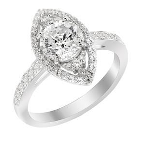 แหวนเพชร DiamondLike หัวแหวนคล้ายเพชรรูปมาคีย์ ประดับเพชรทรงกลม 1 กะรัต ดีไซน์รับทุกเรียวนิ้ว ตัวเรือนเงินแท้ชุบทองคำขาว