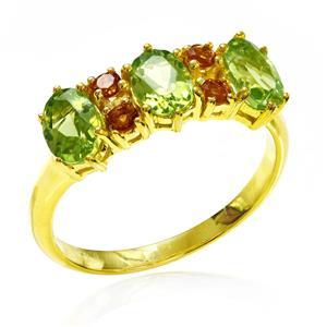 แหวนพลอยเพอริดอท (Peridot) ประดับพลอยซิทริน เรียบหรูดูดี บนตัวเรือนเงินแท้ชุบทอง