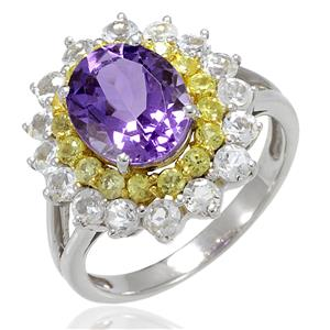 แหวนเงินแท้ประดับพลอยอเมทิสต์ ล้อมรอบด้วย Yellow Sapphire และ CZ