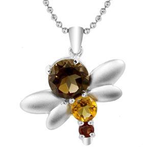 จี้พลอยสโมคกี้ควอตซ์(Smoky Quartz) ดีไซน์รูปแมงปอน่ารักสุดๆ เหมาะสำหรับมอบให้เป็นของขวัญ ตัวเรือนเงินแท้ชุบทองคำขาว