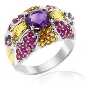 แหวนพลอยอเมทิสต์(Amethyst) ประดับพลอยทับทิม(Ruby) และซิทริน(Citrine) รูปดอกไม้สุดสดใส ตัวเรือนเงินแท้ชุบทองคำขาว