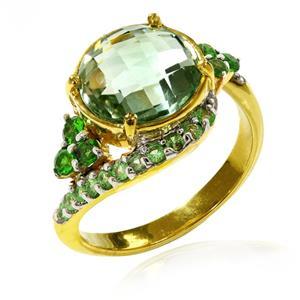แหวนเงินแท้ ประดับอเมทิสต์สีเขียว โครมไอออพไซด์ และซาโวไลท์