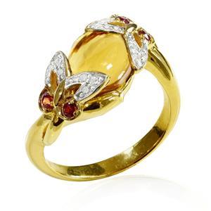 แหวนเงินแท้ ประดับวิสกี้ควอตซ์ Orange Sapphire และ CZ