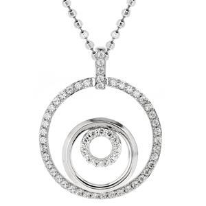 จี้เพชร DiamondLike ดีไซน์เก๋ด้วยวงกลมล้อมกันถึง 3 ชั้น ตัวเรือนเงินแท้ชุบทองคำขาว