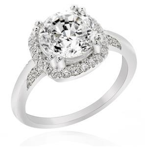 แหวนเพชร DiamondLike ขนาด 2 กะรัต หัวแหวนล้อมด้วยเพชรอีกชั้น เพิ่มขนาดให้กับเพชรหัวแหวน ตัวเรือนเงินแท้ชุบทองคำขาว