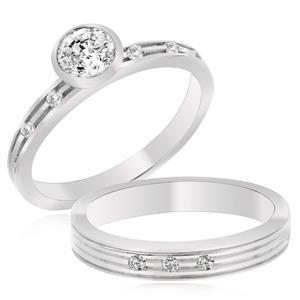 เซตแหวนเพชร DiamondLike ซื้อ 1 ได้ถึง 2 ที่มาพร้อมกันเจิดจรัสบนเรียวนิ้ว ตัวเรือนเงินแท้ชุบทองคำขาว