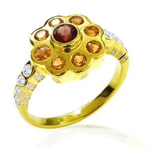 แหวนเงินดอกไม้ 925 ประดับซิทรินสีเหลือง  บนเกสรตกแต่งด้วยการ์เน็ต และคิวบิค เซอร์โคเนียบนตัวเรือน