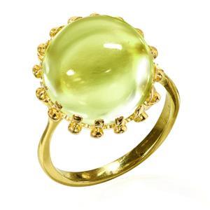แหวนพลอยเลมอนควอตซ์ (Lemon Quartz) เม็ดใหญ่ พลอยหลังเบี้ย เก๋ในแบบคลาสสิค บนตัวเรือนเงินชุบทอง