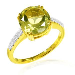 แหวนพลอยเลมอนควอตซ์ (Lemon Quartz) เม็ดใหญ่ ประดับเพชร DiamondLike ตัวเรือนเงินแท้ชุบทอง เรียบหรูในแบบคลาสสิค
