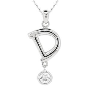 จี้ตัวอักษร ตัว D ตัวเรือนเงินแท้ชุบทองคำขาว ประดับเพชร DiamondLike