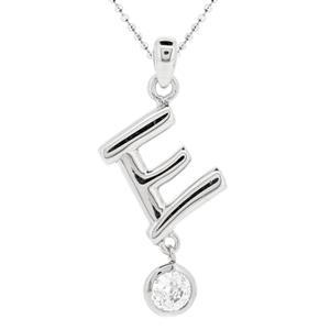จี้ตัวอักษร ตัว E ตัวเรือนเงินแท้ชุบทองคำขาว ประดับเพชร DiamondLike