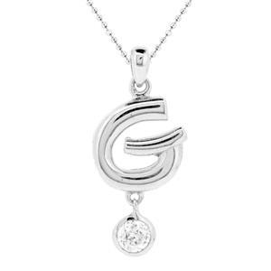 จี้ตัวอักษร ตัว G ตัวเรือนเงินแท้ชุบทองคำขาว ประดับเพชร DiamondLike