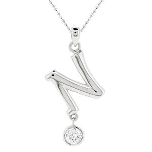 จี้ตัวอักษร ตัว N ตัวเรือนเงินแท้ชุบทองคำขาว ประดับเพชร DiamondLike