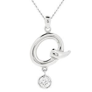 จี้ตัวอักษร ตัว Q ตัวเรือนเงินแท้ชุบทองคำขาว ประดับเพชร DiamondLike