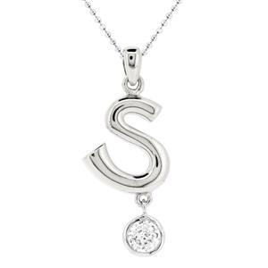 จี้ตัวอักษร ตัว S ตัวเรือนเงินแท้ชุบทองคำขาว ประดับเพชร DiamondLike