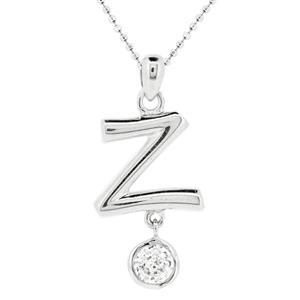 จี้ตัวอักษร ตัว Z ตัวเรือนเงินแท้ชุบทองคำขาว ประดับเพชร DiamondLike
