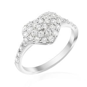 แหวนเพชรDiamondlLke ดีไซน์รูปหัวใจ ประดับเพชรเต็มรูปหัวใจพร้อมบ่าข้างสวยงาม ตัวเรือนเงินแท้ชุบทองคำขาว