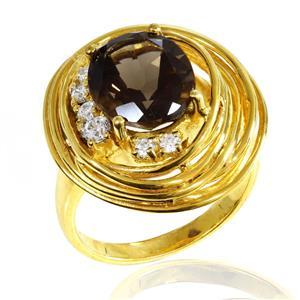 แหวนเงินแท้ ชุบทอง 18K ดีไซน์สวย ประดับด้วยสโมกี้ควอตซ์ และ CZ