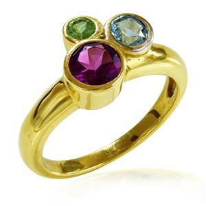 แหวนพลอยโรโดไลท์, โทแพซสีฟ้า, เพอริดอต(Rhodolite,Blue Topaz, Peridot) 3 สี ดูคลาสสิคน่ามอง ตัวเรือนเงินแท้ชุบทองคำ