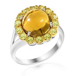 แหวนพลอยวิสกี้ควอตซ์(Whisky Quartz) รูปทรงดอกไม้ น่ารักสุดเก๋ไก๋ บนตัวเรือนเงินแท้ชุบทองคำ