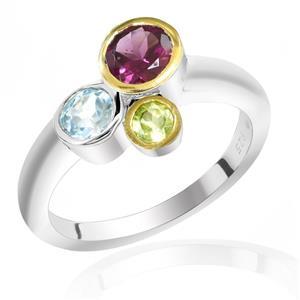 แหวนพลอยโรโดไลท์, โทแพซสีฟ้า, เพอริดอต(Rhodolite,Blue Topaz, Peridot) 3 สี ดูคลาสสิคน่ามอง ตัวเรือนเงินแท้ชุบทองคำขาว