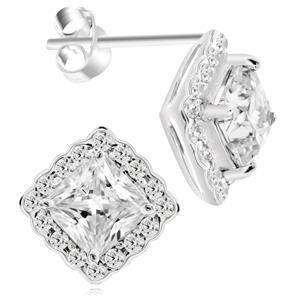 ต่างหูเพชร Diamond Like ดีไซน์คลาสสิค ตัวเรือนอัลลอยด์อิตาลี่ ชุบทองคำขาว