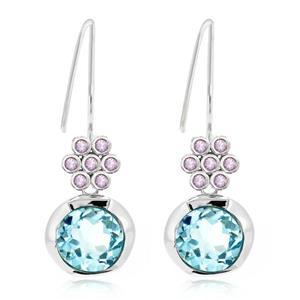 ต่างหูพลอยบลูโทพาส(Blue Topaz) และพลอยแซฟไฟร์สีชมพู(Pink Sapphire)  บนตัวเรือนเงินแท้ชุบทองคำขาว