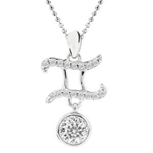 จี้เพชรDiamondLike สัญลักษณ์ Zodiac ประจำราศีเมถุน เจ้าแห่งความคิด และสติปัญญา บนตัวเรือนเงินแท้ชุบทองคำขาวแท้